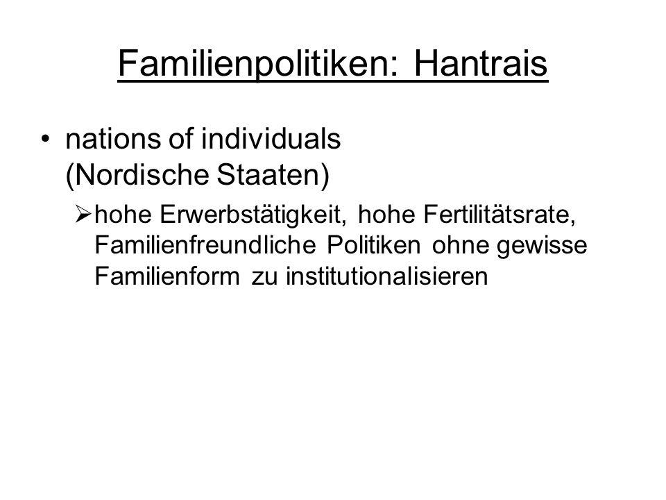 Familienpolitiken: Hantrais nations of individuals (Nordische Staaten) hohe Erwerbstätigkeit, hohe Fertilitätsrate, Familienfreundliche Politiken ohne