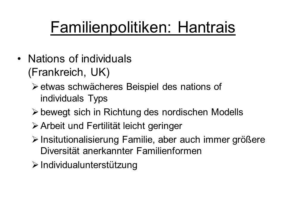 Familienpolitiken: Hantrais Nations of individuals (Frankreich, UK) etwas schwächeres Beispiel des nations of individuals Typs bewegt sich in Richtung