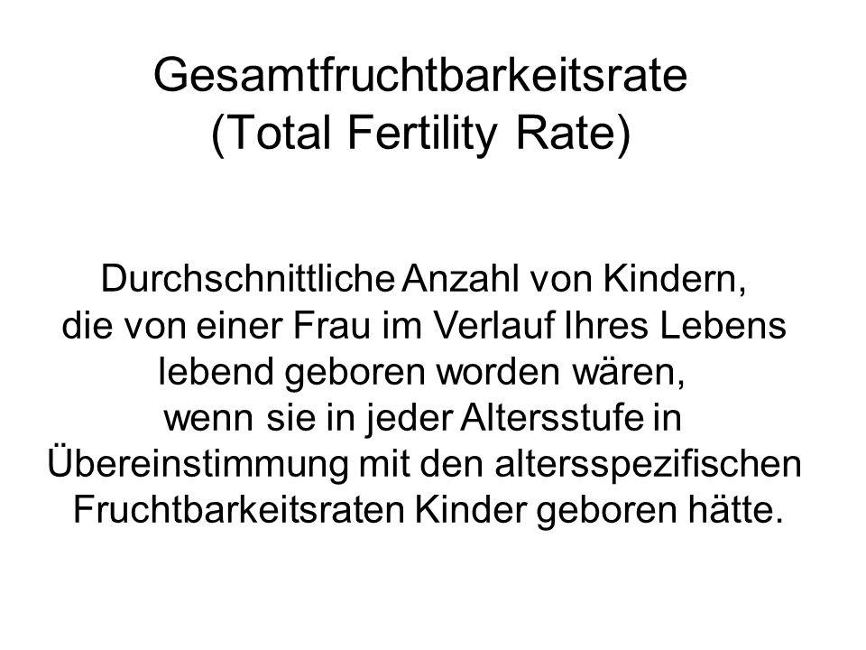 Durchschnittliche Anzahl von Kindern, die von einer Frau im Verlauf Ihres Lebens lebend geboren worden wären, wenn sie in jeder Altersstufe in Überein