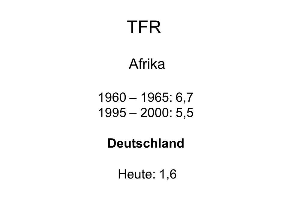 Afrika 1960 – 1965: 6,7 1995 – 2000: 5,5 Deutschland Heute: 1,6 TFR