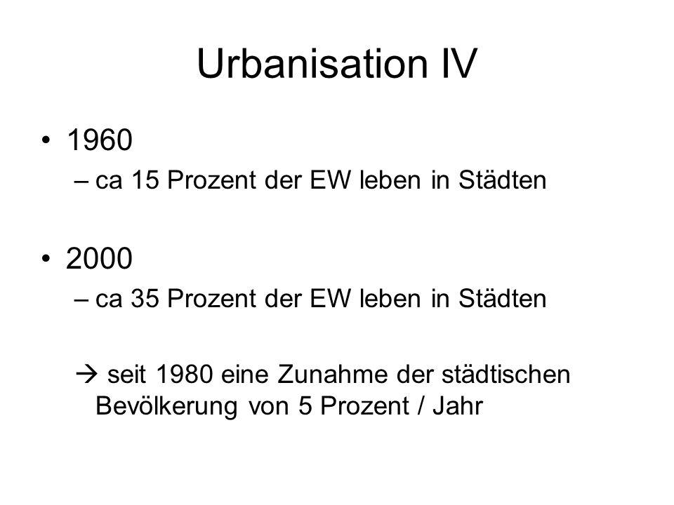 Urbanisation IV 1960 –ca 15 Prozent der EW leben in Städten 2000 –ca 35 Prozent der EW leben in Städten seit 1980 eine Zunahme der städtischen Bevölke