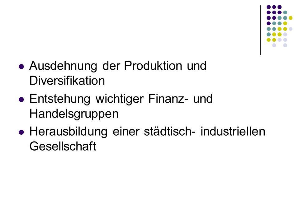 Ausdehnung der Produktion und Diversifikation Entstehung wichtiger Finanz- und Handelsgruppen Herausbildung einer städtisch- industriellen Gesellschaf