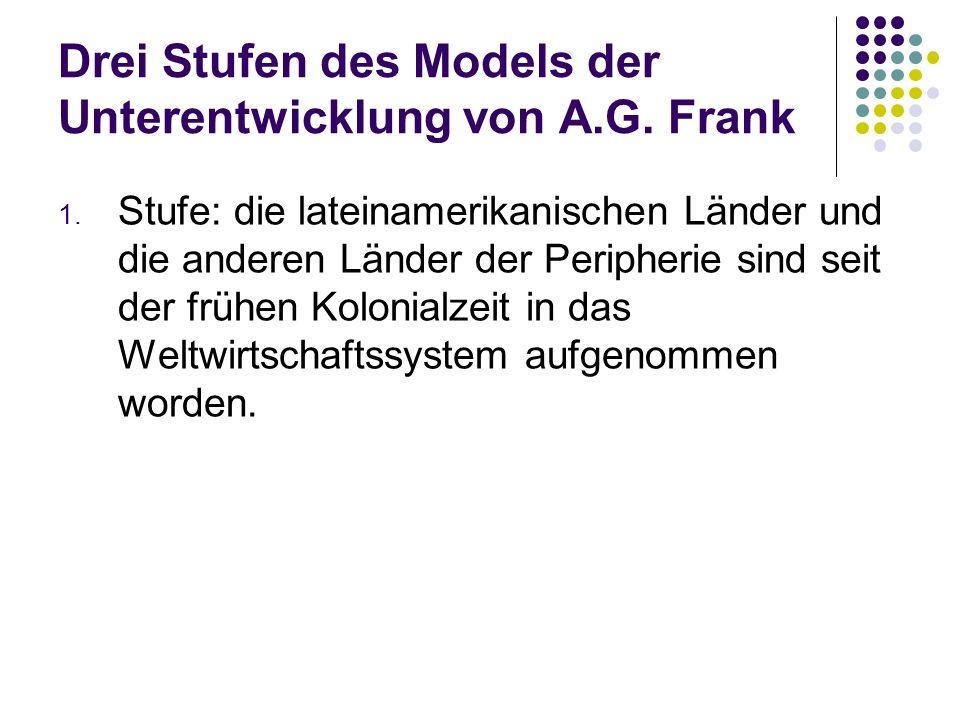 Drei Stufen des Models der Unterentwicklung von A.G. Frank 1. Stufe: die lateinamerikanischen Länder und die anderen Länder der Peripherie sind seit d