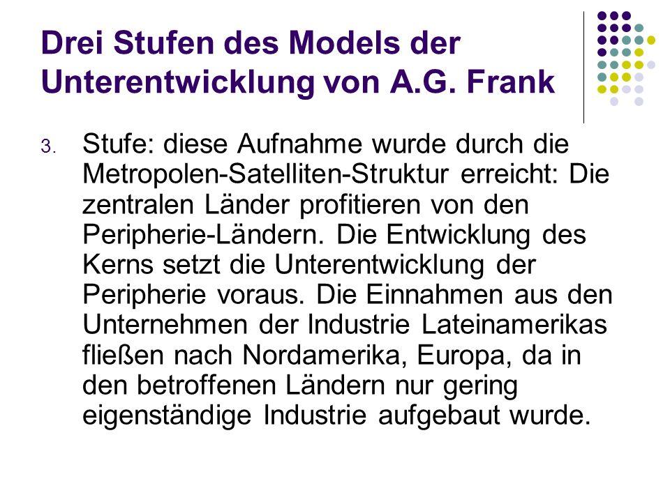 Drei Stufen des Models der Unterentwicklung von A.G. Frank 3. Stufe: diese Aufnahme wurde durch die Metropolen-Satelliten-Struktur erreicht: Die zentr