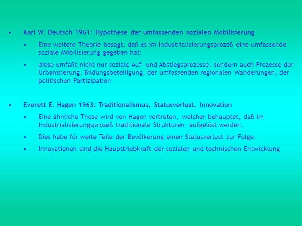 Karl W. Deutsch 1961: Hypothese der umfassenden sozialen Mobilisierung Eine weitere Theorie besagt, daß es im Industrialisierungsprozeß eine umfassend