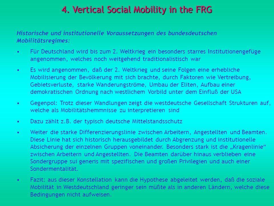 4. Vertical Social Mobility in the FRG Historische und institutionelle Voraussetzungen des bundesdeutschen Mobilitätsregimes: Für Deutschland wird bis