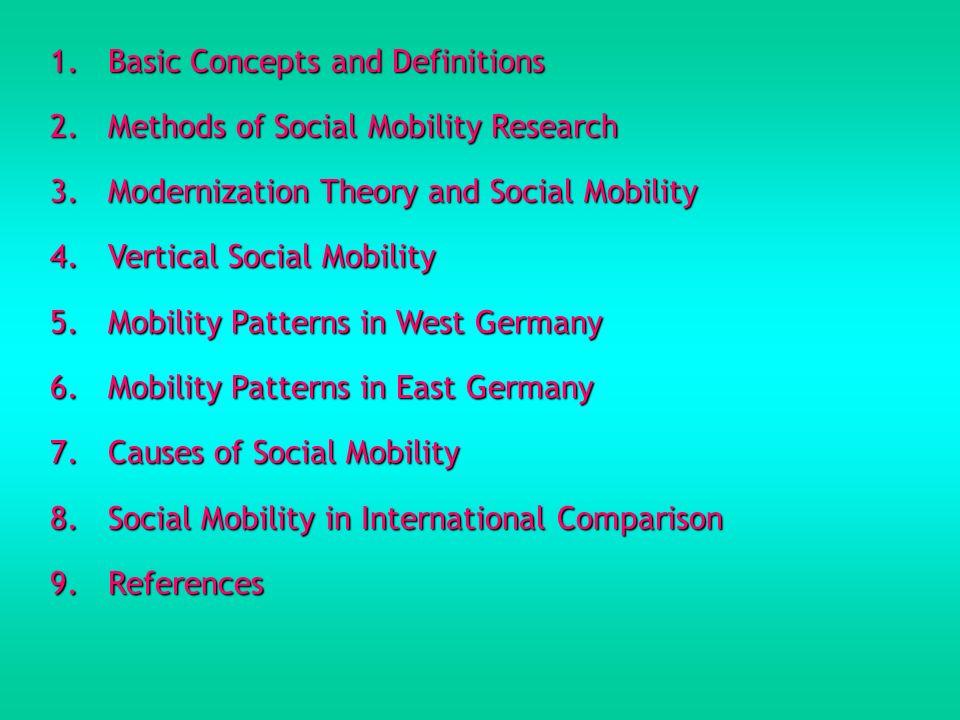 1.Basic Concepts and Definitions Soziale Mobilität und räumliche Mobilität Räumliche Mobilität ist die geographische Mobilität, also Umzüge und Wanderungen (Migrationen) (Geissler 2002, 311).