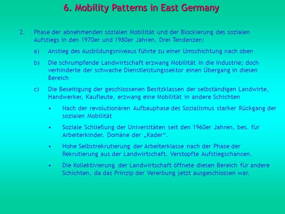 6. Mobility Patterns in East Germany 2.Phase der abnehmenden sozialen Mobilität und der Blockierung des sozialen Aufstiegs in den 1970er und 1980er Ja
