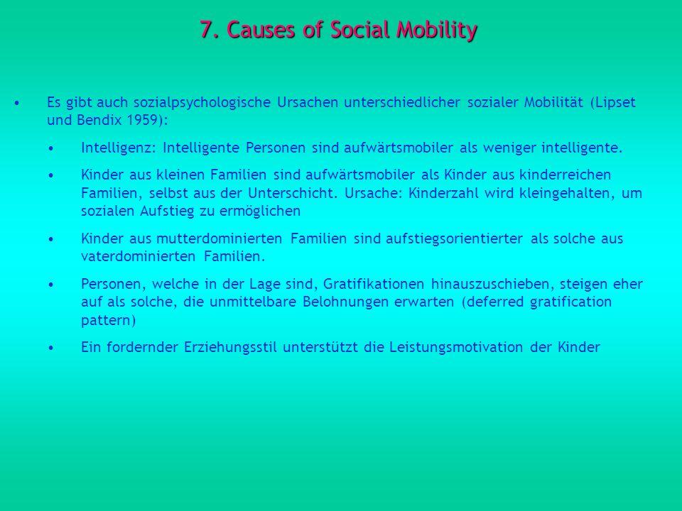 7. Causes of Social Mobility Es gibt auch sozialpsychologische Ursachen unterschiedlicher sozialer Mobilität (Lipset und Bendix 1959): Intelligenz: In