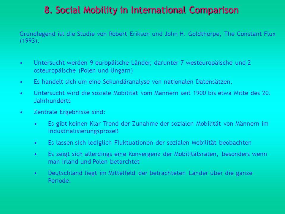 8. Social Mobility in International Comparison Grundlegend ist die Studie von Robert Erikson und John H. Goldthorpe, The Constant Flux (1993). Untersu