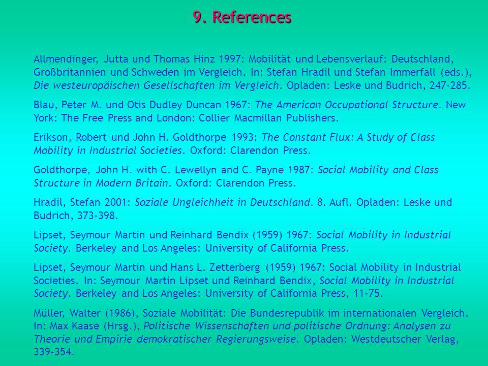 9. References Allmendinger, Jutta und Thomas Hinz 1997: Mobilität und Lebensverlauf: Deutschland, Großbritannien und Schweden im Vergleich. In: Stefan