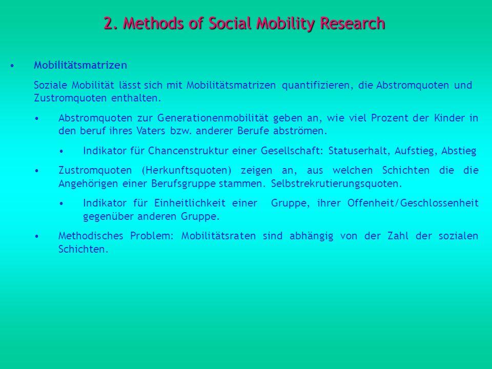 2. Methods of Social Mobility Research Mobilitätsmatrizen Soziale Mobilität lässt sich mit Mobilitätsmatrizen quantifizieren, die Abstromquoten und Zu
