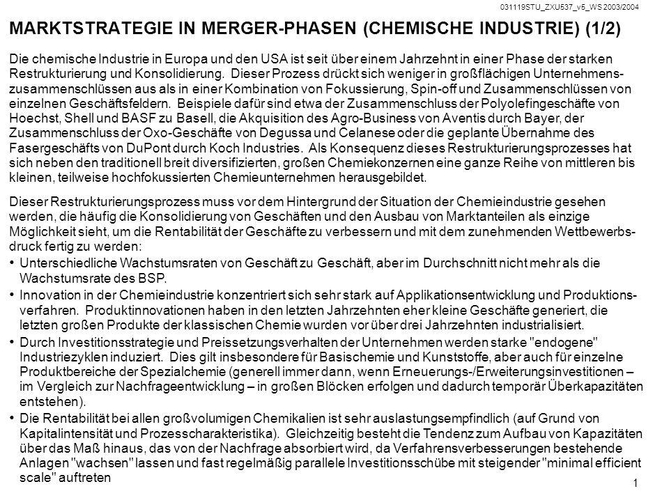 Copyright 2003 VERTRAULICH Strategische Preisgestaltung in der Pre-Merger Phase: Chemische Industrie Prof. Dr. Wilhelm Rall Prof. Dr. Konrad Stahl HS