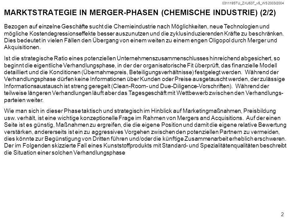 031119STU_ZXU537_v5_WS 2003/2004 1 MARKTSTRATEGIE IN MERGER-PHASEN (CHEMISCHE INDUSTRIE) (1/2) Die chemische Industrie in Europa und den USA ist seit