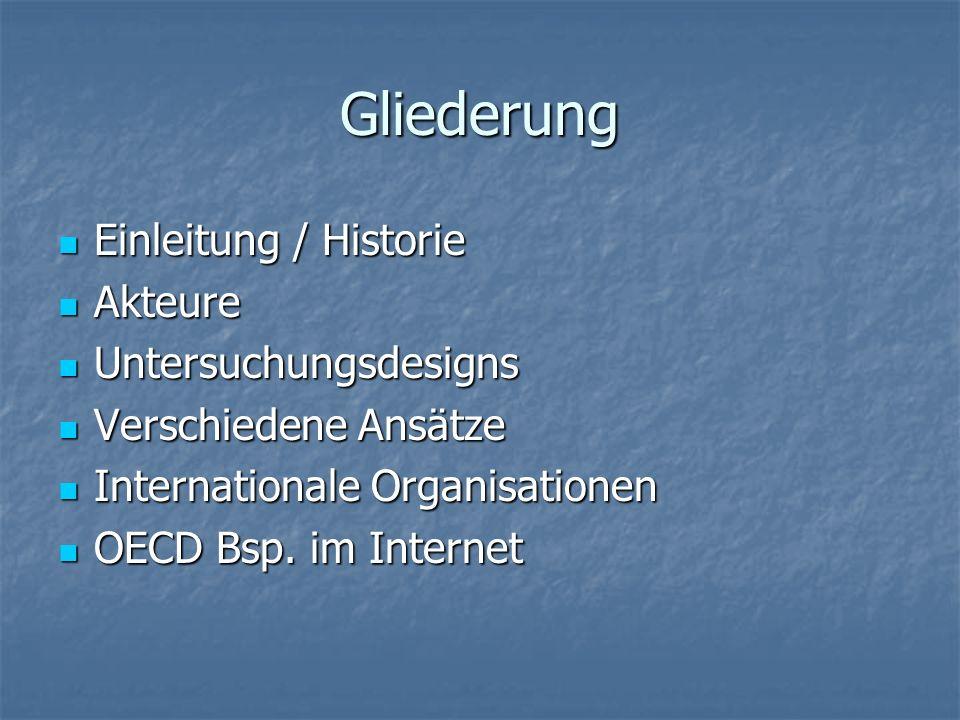 Gliederung Einleitung / Historie Einleitung / Historie Akteure Akteure Untersuchungsdesigns Untersuchungsdesigns Verschiedene Ansätze Verschiedene Ans