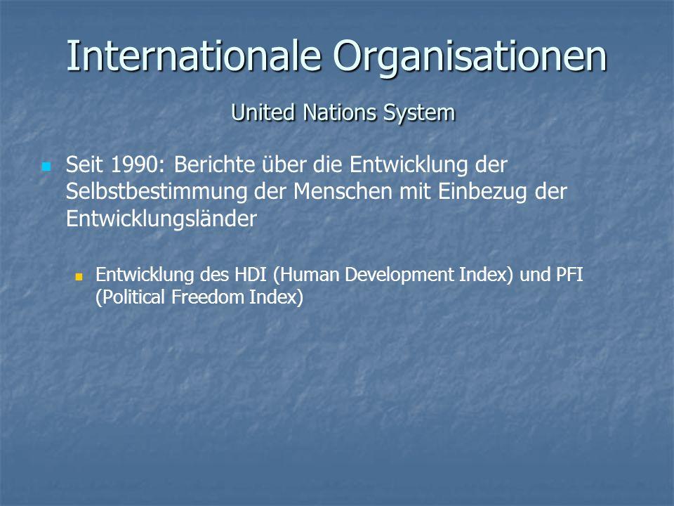 Internationale Organisationen United Nations System Seit 1990: Berichte über die Entwicklung der Selbstbestimmung der Menschen mit Einbezug der Entwic