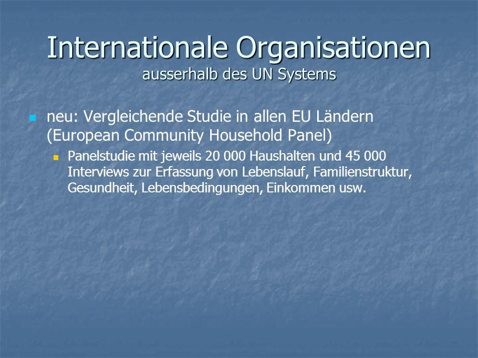 Internationale Organisationen ausserhalb des UN Systems neu: Vergleichende Studie in allen EU Ländern (European Community Household Panel) Panelstudie