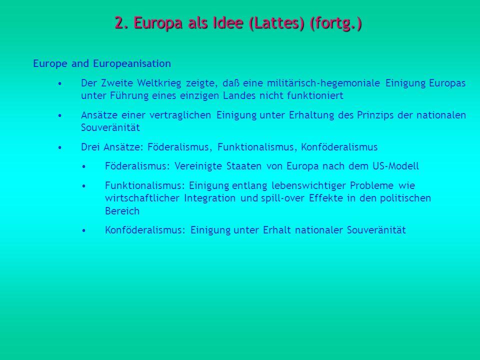 2. Europa als Idee (Lattes) (fortg.) Europe and Europeanisation Der Zweite Weltkrieg zeigte, daß eine militärisch-hegemoniale Einigung Europas unter F