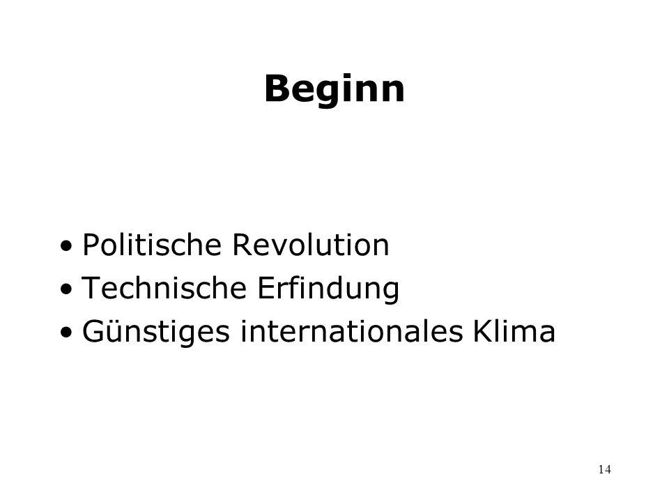 14 Beginn Politische Revolution Technische Erfindung Günstiges internationales Klima