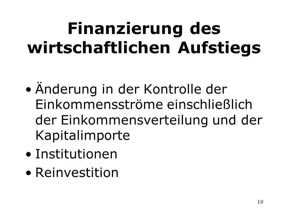 19 Finanzierung des wirtschaftlichen Aufstiegs Änderung in der Kontrolle der Einkommensströme einschließlich der Einkommensverteilung und der Kapitali