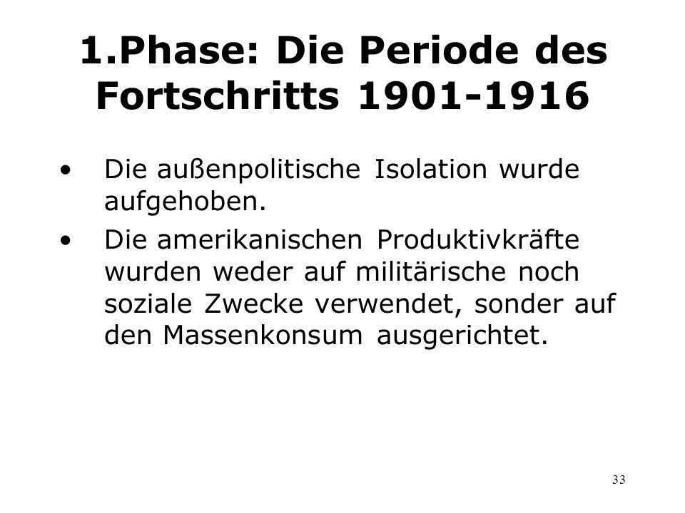 33 1.Phase: Die Periode des Fortschritts 1901-1916 Die außenpolitische Isolation wurde aufgehoben. Die amerikanischen Produktivkräfte wurden weder auf