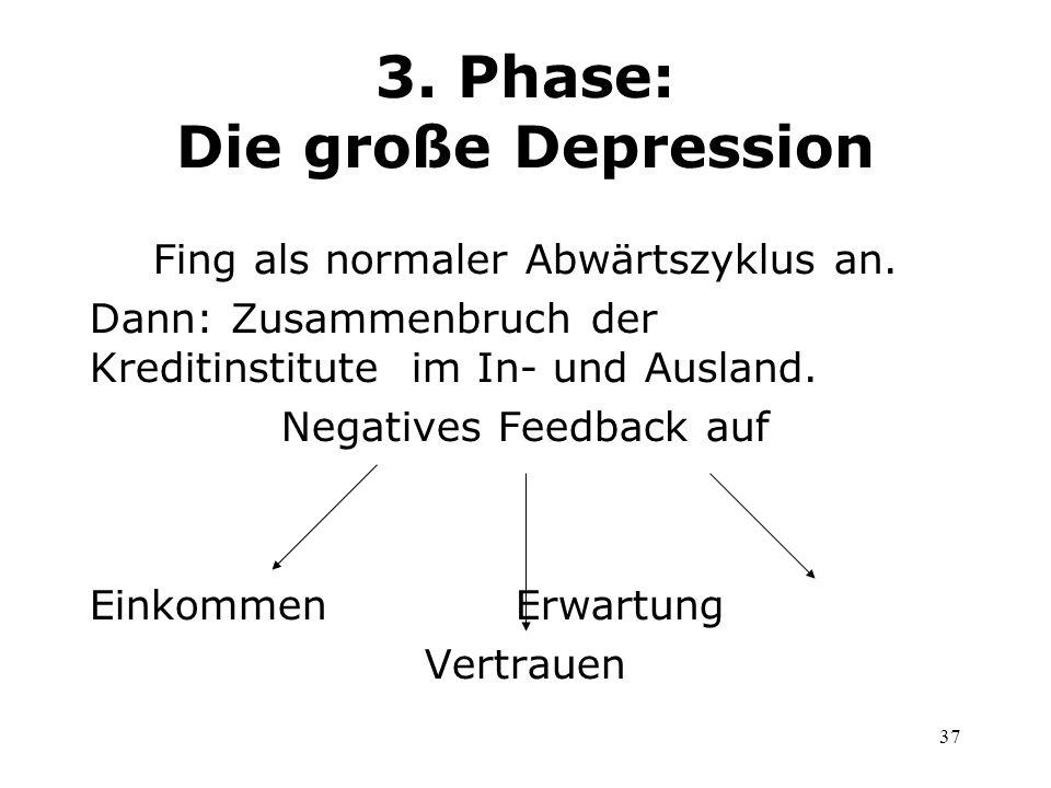 37 3. Phase: Die große Depression Fing als normaler Abwärtszyklus an. Dann: Zusammenbruch der Kreditinstitute im In- und Ausland. Negatives Feedback a