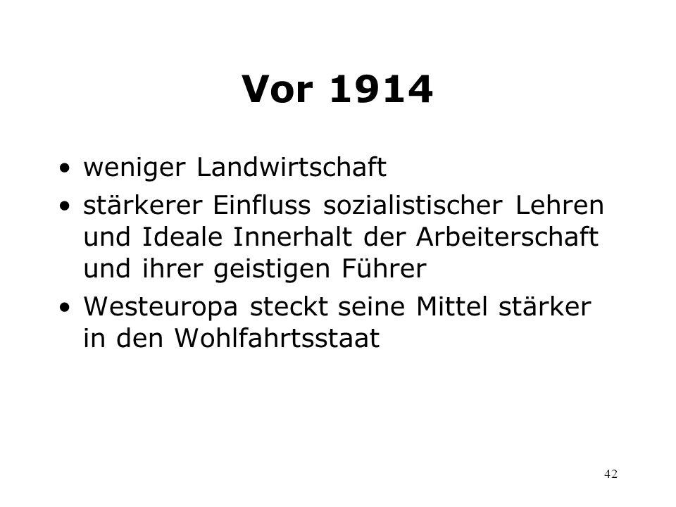 42 Vor 1914 weniger Landwirtschaft stärkerer Einfluss sozialistischer Lehren und Ideale Innerhalt der Arbeiterschaft und ihrer geistigen Führer Westeu