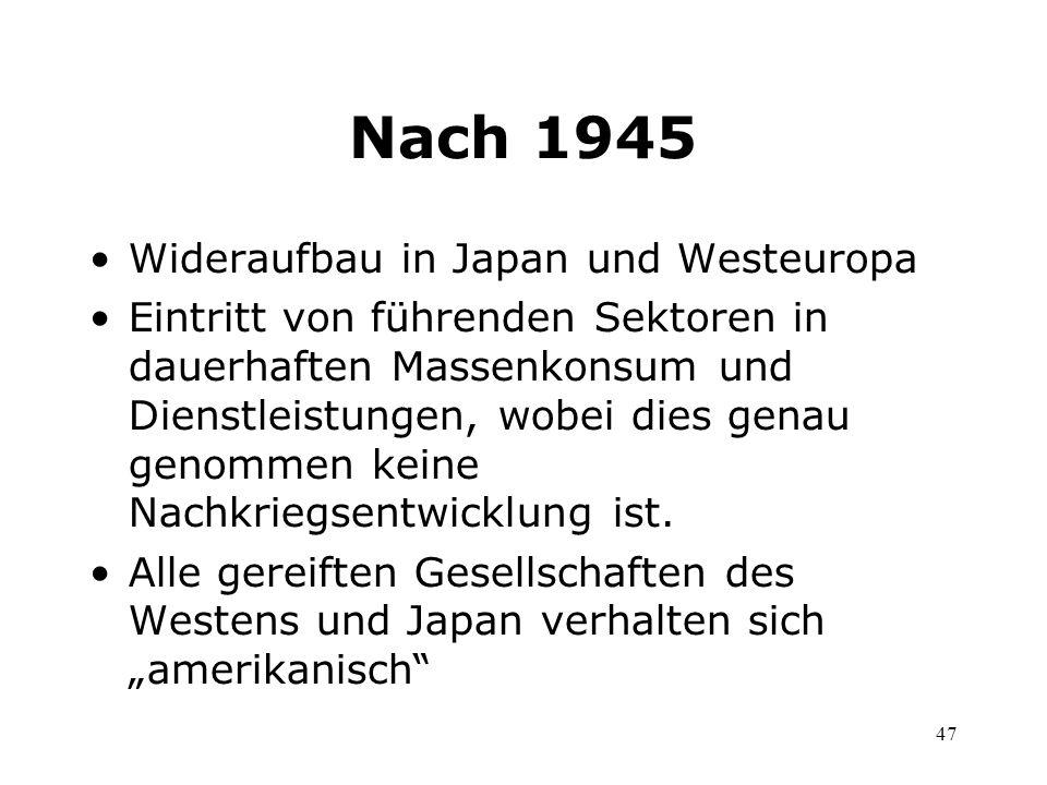 47 Nach 1945 Wideraufbau in Japan und Westeuropa Eintritt von führenden Sektoren in dauerhaften Massenkonsum und Dienstleistungen, wobei dies genau ge