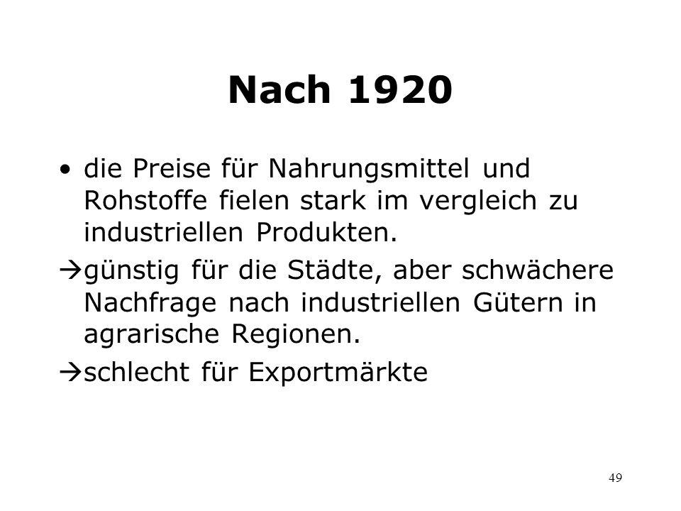 49 Nach 1920 die Preise für Nahrungsmittel und Rohstoffe fielen stark im vergleich zu industriellen Produkten. günstig für die Städte, aber schwächere