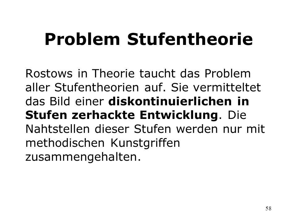 58 Problem Stufentheorie Rostows in Theorie taucht das Problem aller Stufentheorien auf. Sie vermitteltet das Bild einer diskontinuierlichen in Stufen