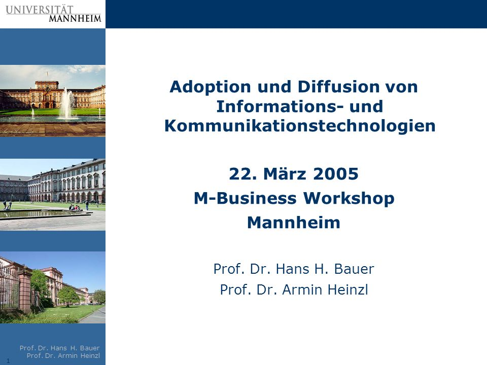 1 Prof. Dr. Hans H. Bauer Prof. Dr. Armin Heinzl Adoption und Diffusion von Informations- und Kommunikationstechnologien 22. März 2005 M-Business Work