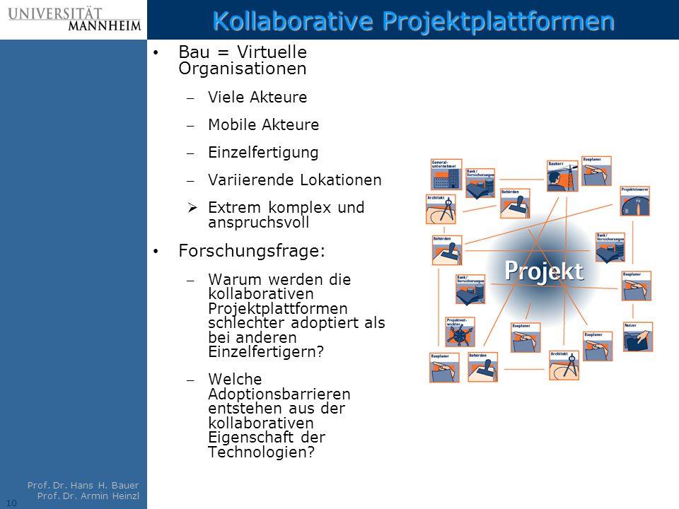 10 Prof. Dr. Hans H. Bauer Prof. Dr. Armin Heinzl Kollaborative Projektplattformen Bau = Virtuelle Organisationen – Viele Akteure – Mobile Akteure – E