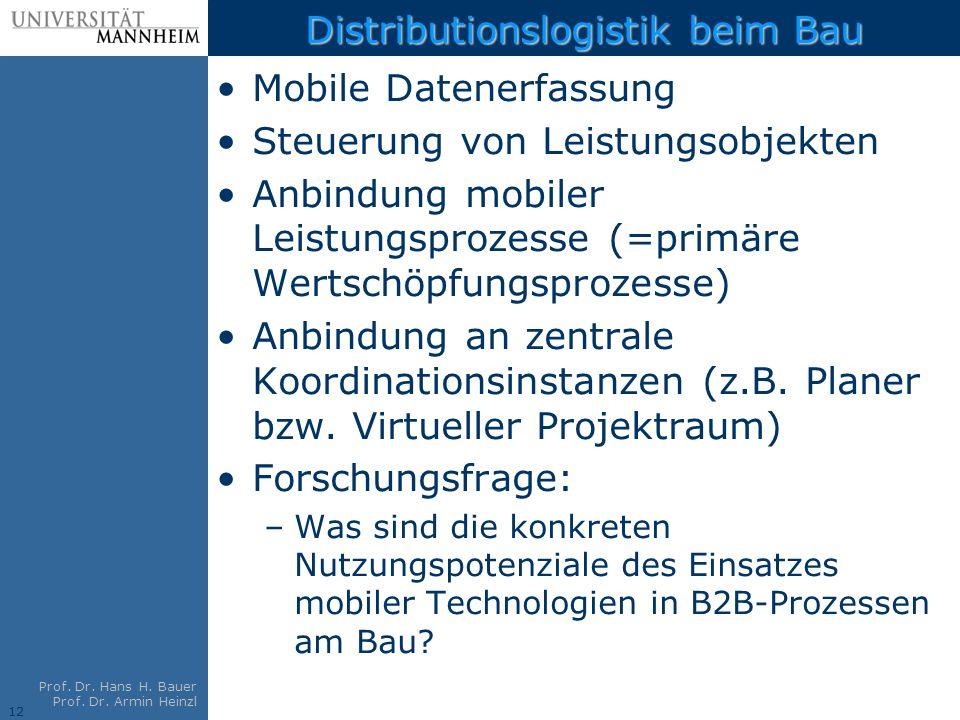 12 Prof. Dr. Hans H. Bauer Prof. Dr. Armin Heinzl Distributionslogistik beim Bau Mobile Datenerfassung Steuerung von Leistungsobjekten Anbindung mobil