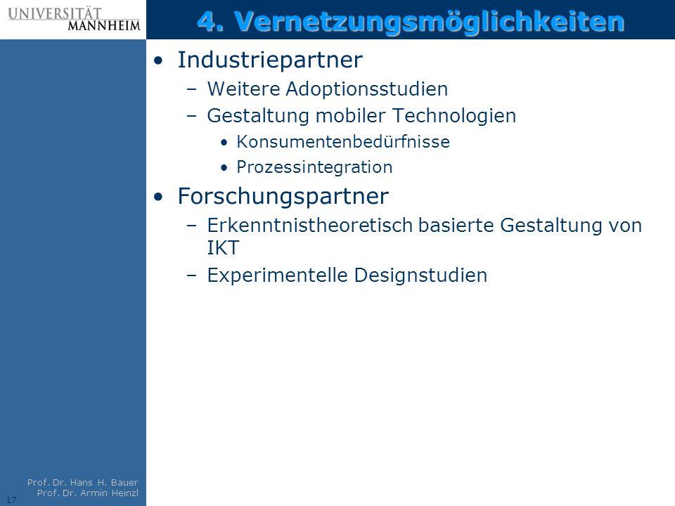 17 Prof. Dr. Hans H. Bauer Prof. Dr. Armin Heinzl 4. Vernetzungsmöglichkeiten Industriepartner –Weitere Adoptionsstudien –Gestaltung mobiler Technolog