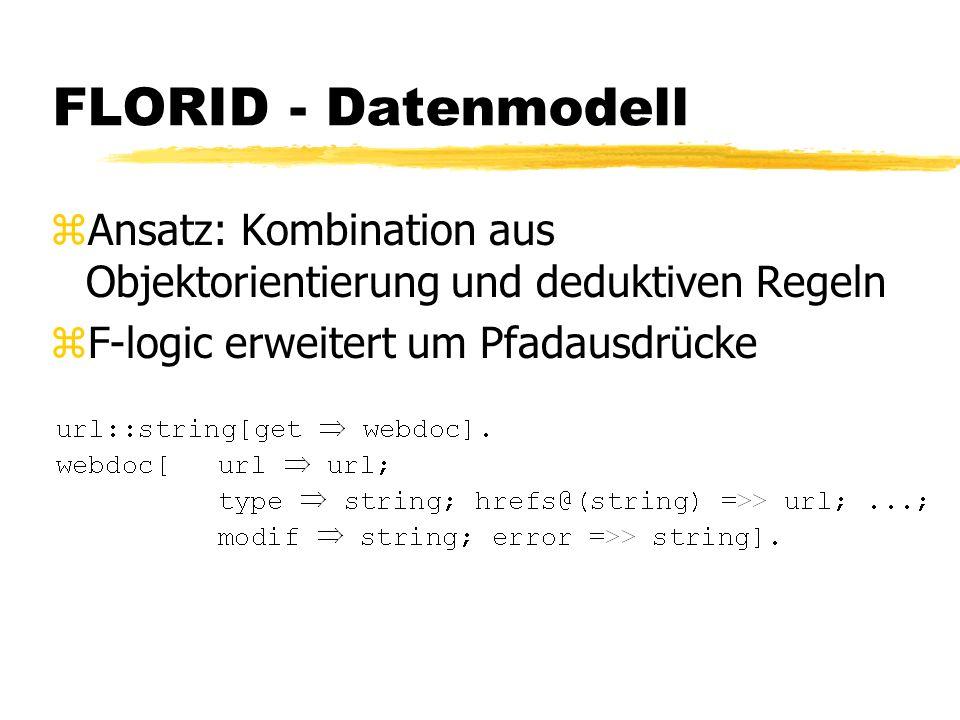 FLORID - Datenmodell zAnsatz: Kombination aus Objektorientierung und deduktiven Regeln zF-logic erweitert um Pfadausdrücke