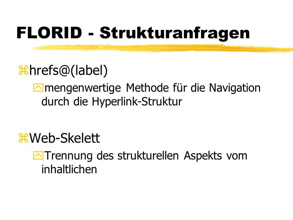 FLORID - Strukturanfragen zhrefs@(label) ymengenwertige Methode für die Navigation durch die Hyperlink-Struktur zWeb-Skelett yTrennung des strukturellen Aspekts vom inhaltlichen