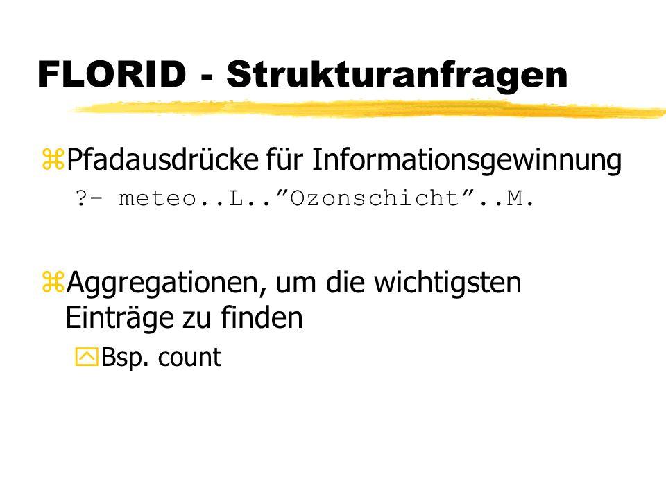 FLORID - Strukturanfragen zPfadausdrücke für Informationsgewinnung ?- meteo..L..Ozonschicht..M.