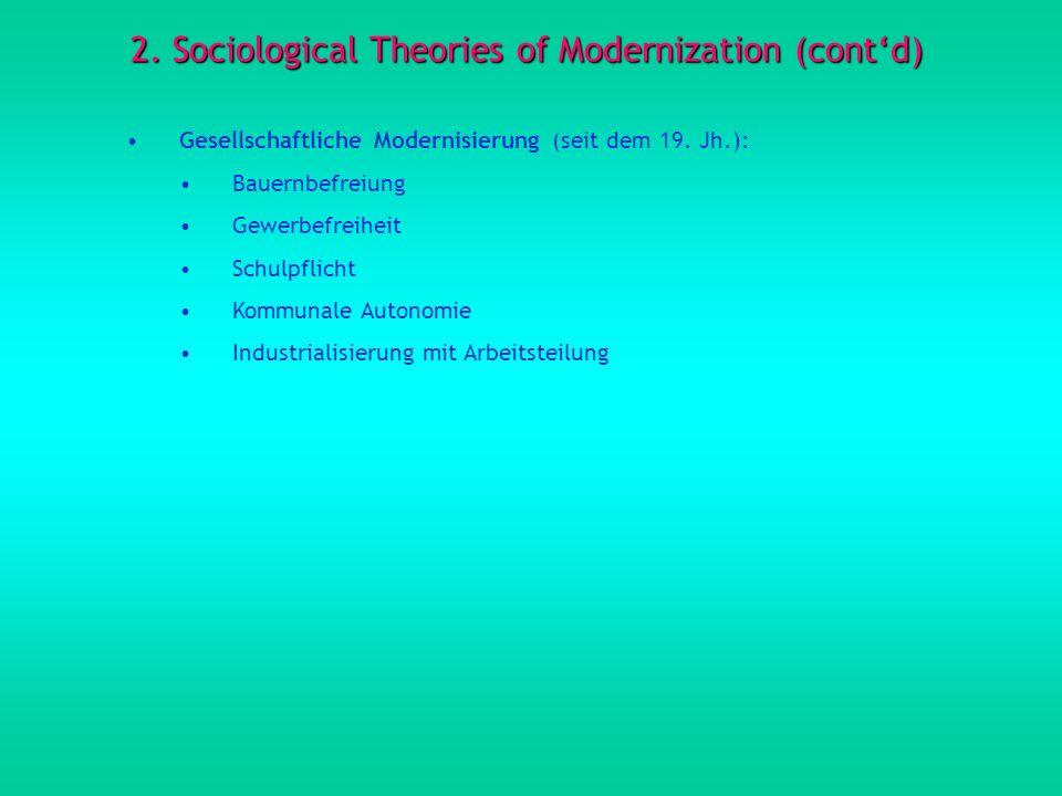 2.Sociological Theories of Modernization (contd) Gesellschaftliche Modernisierung (seit dem 19.