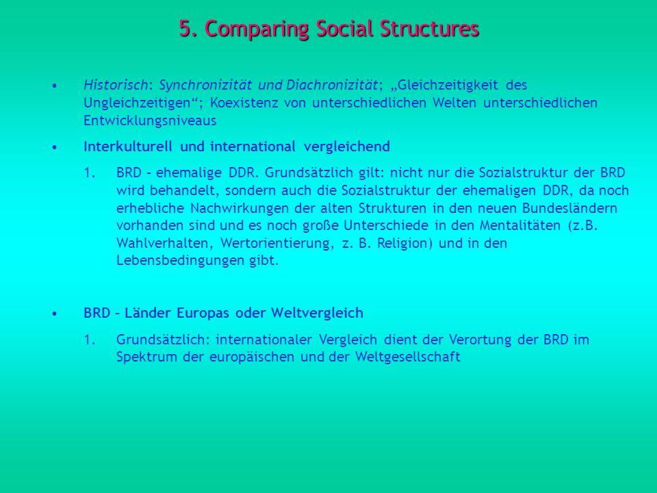 5. Comparing Social Structures Historisch: Synchronizität und Diachronizität; Gleichzeitigkeit des Ungleichzeitigen; Koexistenz von unterschiedlichen