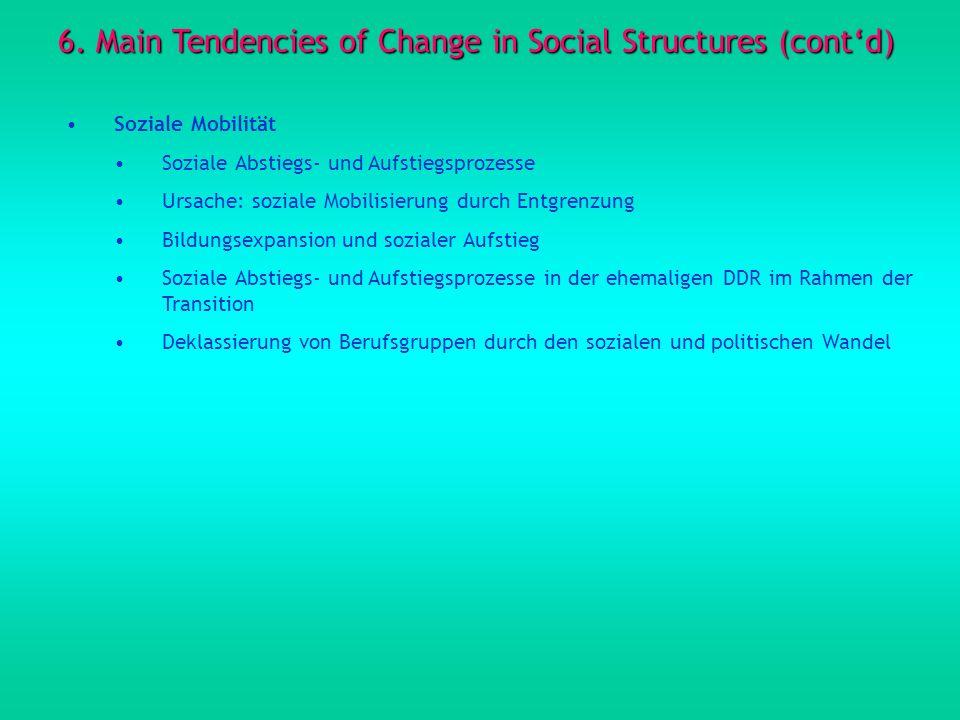 6. Main Tendencies of Change in Social Structures (contd) Soziale Mobilität Soziale Abstiegs- und Aufstiegsprozesse Ursache: soziale Mobilisierung dur