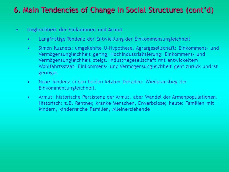 6. Main Tendencies of Change in Social Structures (contd) Ungleichheit der Einkommen und Armut Langfristige Tendenz der Entwicklung der Einkommensungl