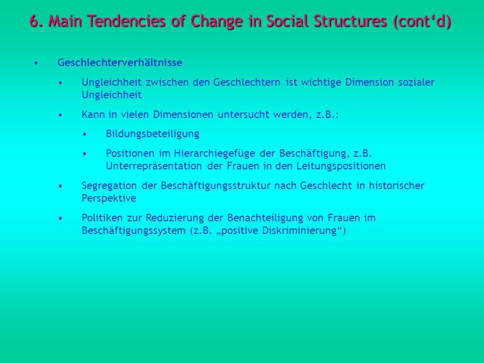6. Main Tendencies of Change in Social Structures (contd) Geschlechterverhältnisse Ungleichheit zwischen den Geschlechtern ist wichtige Dimension sozi