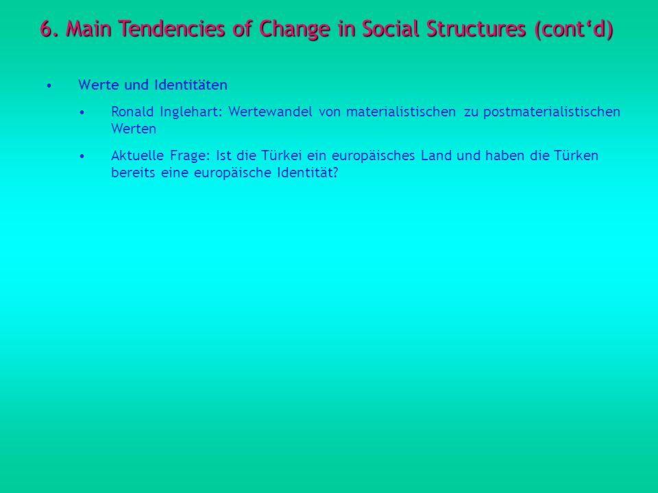 6. Main Tendencies of Change in Social Structures (contd) Werte und Identitäten Ronald Inglehart: Wertewandel von materialistischen zu postmaterialist