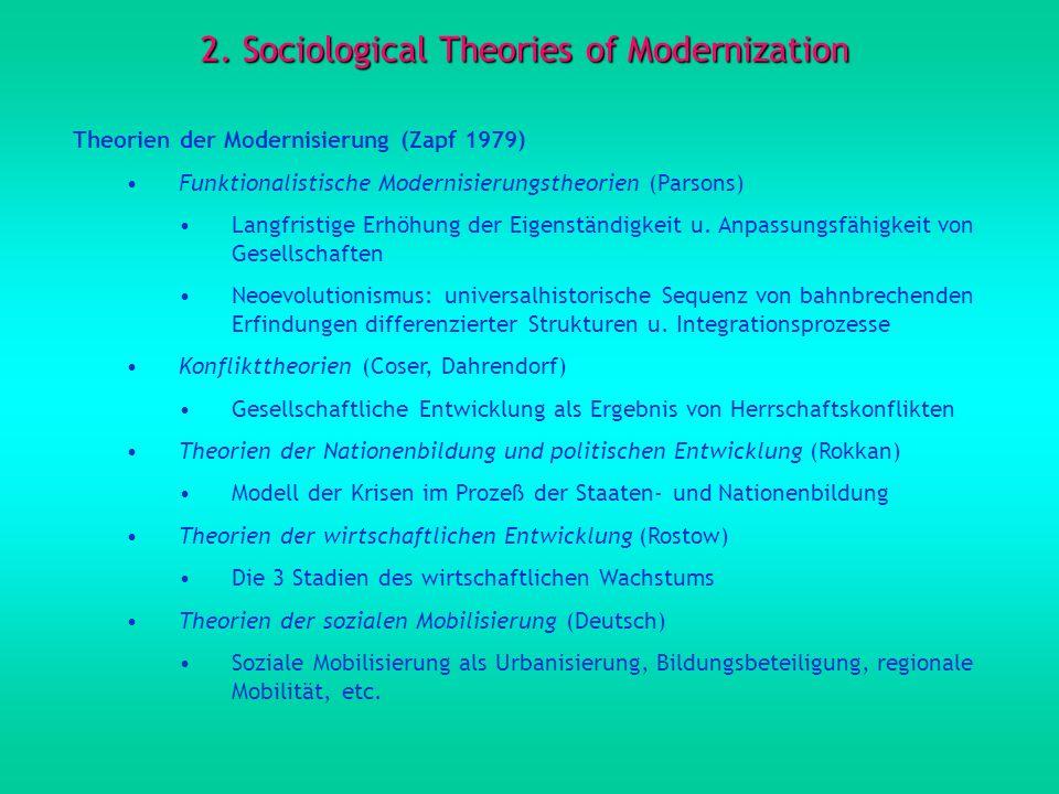 2. Sociological Theories of Modernization Theorien der Modernisierung (Zapf 1979) Funktionalistische Modernisierungstheorien (Parsons) Langfristige Er