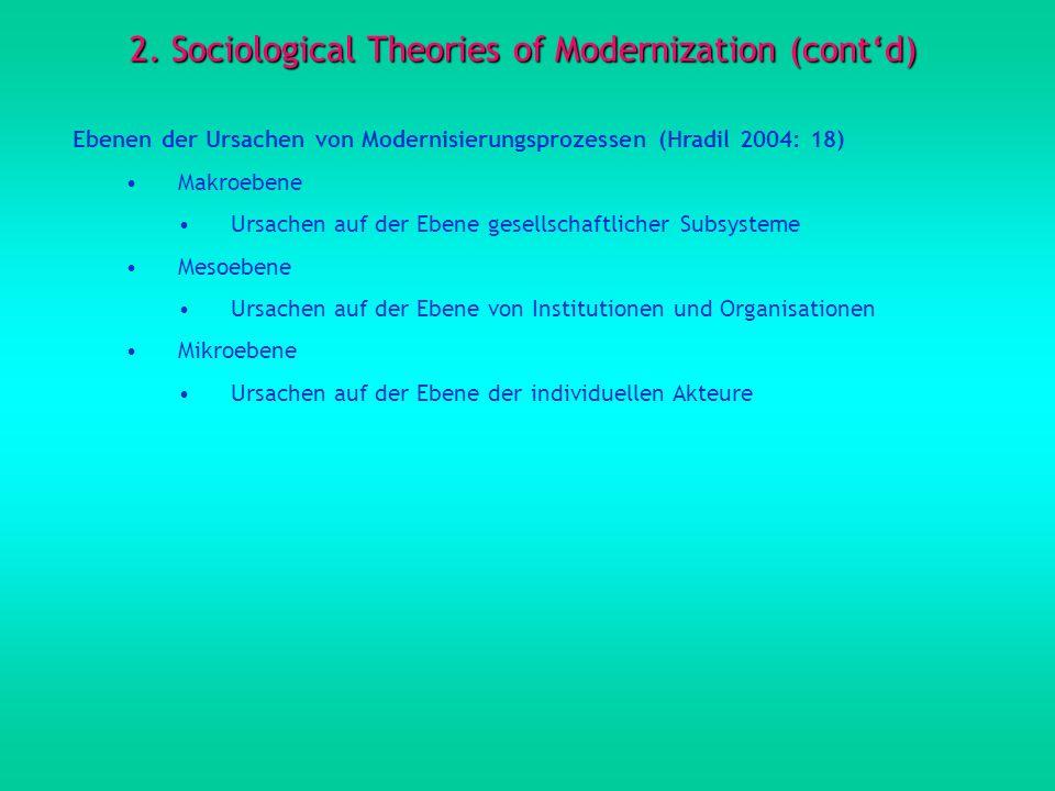 2. Sociological Theories of Modernization (contd) Ebenen der Ursachen von Modernisierungsprozessen (Hradil 2004: 18) Makroebene Ursachen auf der Ebene