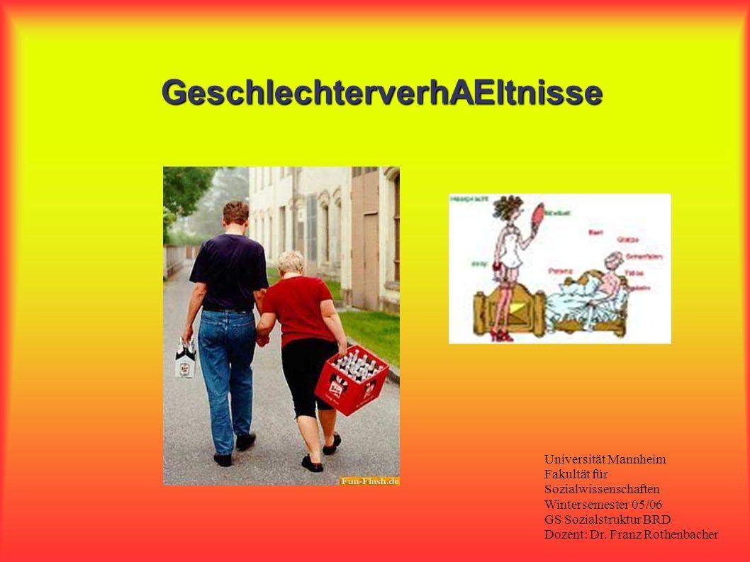 GeschlechterverhAEltnisse Universität Mannheim Fakultät für Sozialwissenschaften Wintersemester 05/06 GS Sozialstruktur BRD Dozent: Dr. Franz Rothenba