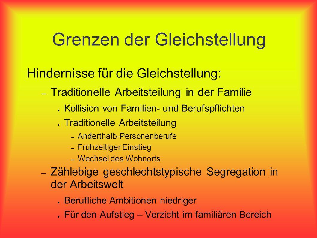 Grenzen der Gleichstellung Hindernisse für die Gleichstellung: – Traditionelle Arbeitsteilung in der Familie Kollision von Familien- und Berufspflicht