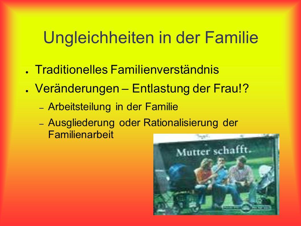 Ungleichheiten in der Familie Traditionelles Familienverständnis Veränderungen – Entlastung der Frau!? – Arbeitsteilung in der Familie – Ausgliederung