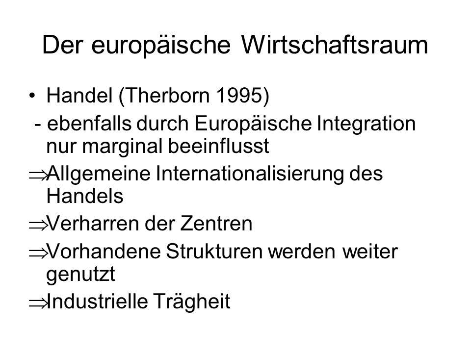 Der europäische Wirtschaftsraum Handel (Therborn 1995) - ebenfalls durch Europäische Integration nur marginal beeinflusst Allgemeine Internationalisie