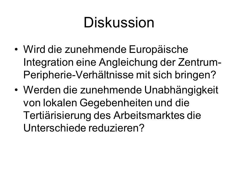Diskussion Wird die zunehmende Europäische Integration eine Angleichung der Zentrum- Peripherie-Verhältnisse mit sich bringen? Werden die zunehmende U